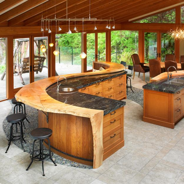 Amazing Rustic Kitchen Island Diy Ideas 26: Amazing Wood Kitchen Countertop Ideas Adding Exotic Look