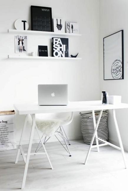 black n white decorating with color for home office designs in minimalist style