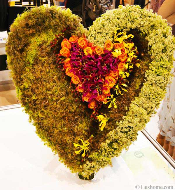 romantic gifts and flower arrangements in heart shapes