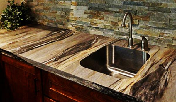 Natural Stone And Rustic Wood Kitchen Countertop Ideas
