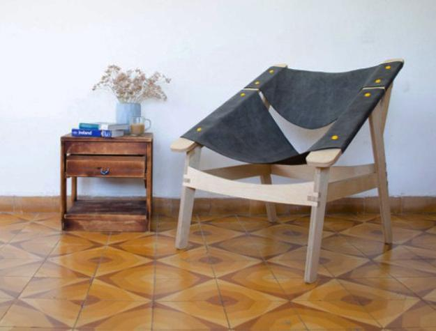 plywood chairs with fabric seat and backrest for diy projects