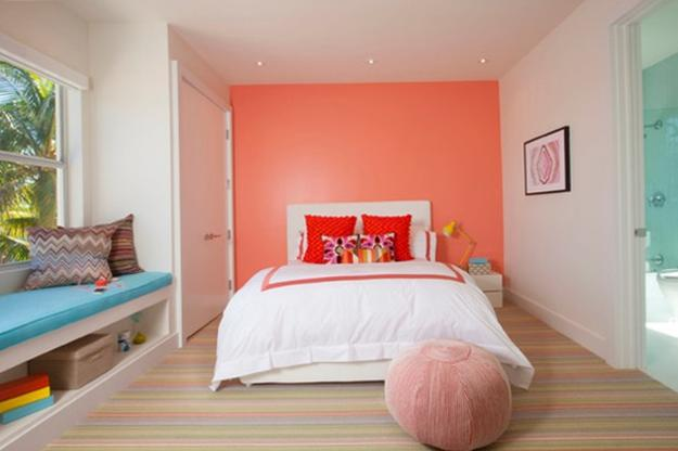 Pink Color With White, Peach, And Blue For Modern Bedroom Design
