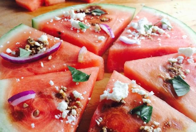 food decoration with watermelon adding red colors to cold and hot salads