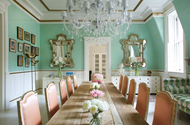 light green and pink colors for dining room decorating