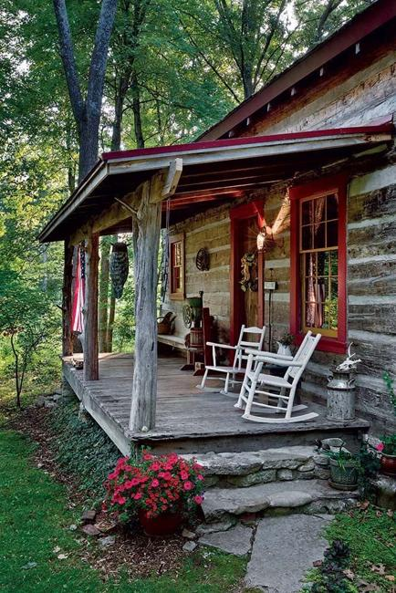 Cottage Decorating, Stone Stair And Wooden Porch Furniture