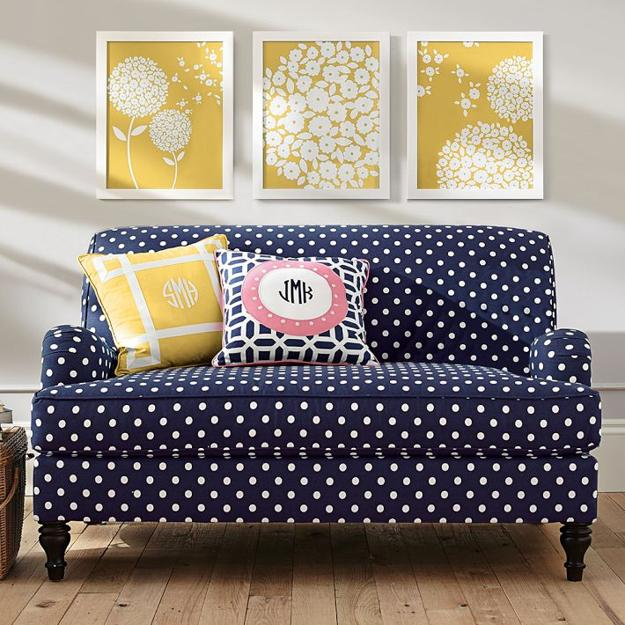 modern trends in decorating with polka dots and stylish color combinations