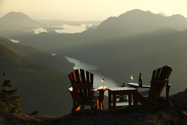 romantic getaway in british columbia, two chairs with mountain veiw