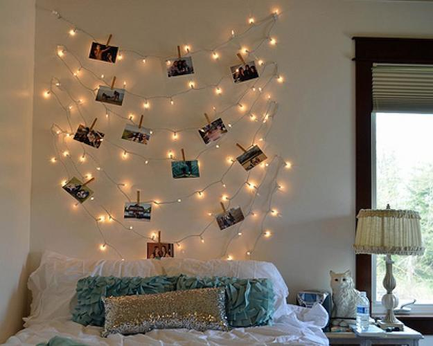 Strings Of Lights, Pictures, And Wooden Pins, Bedroom Wall Decorating Idea