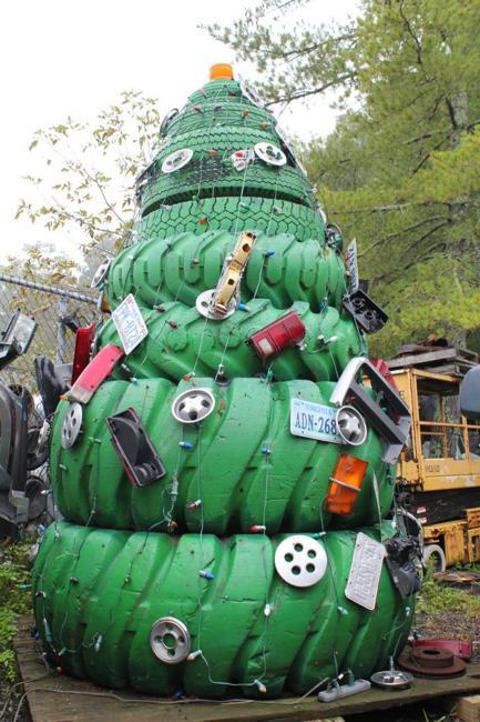 Recycling Tires For Winter Decorating Original Handmade