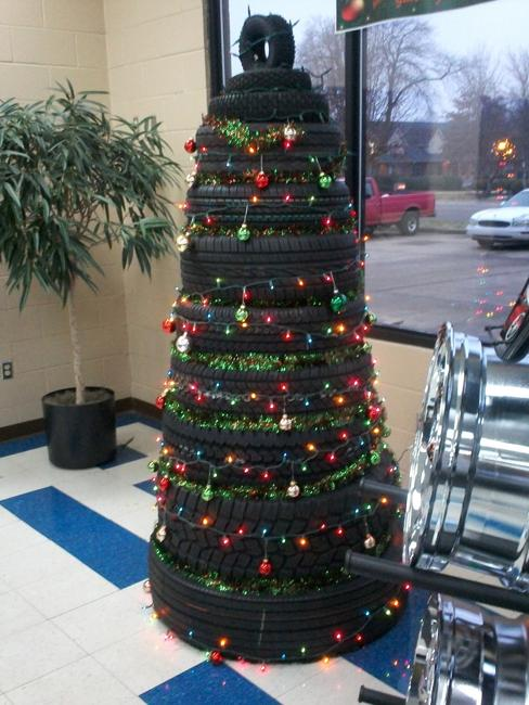 Recycling Tires For Winter Decorating Original Handmade