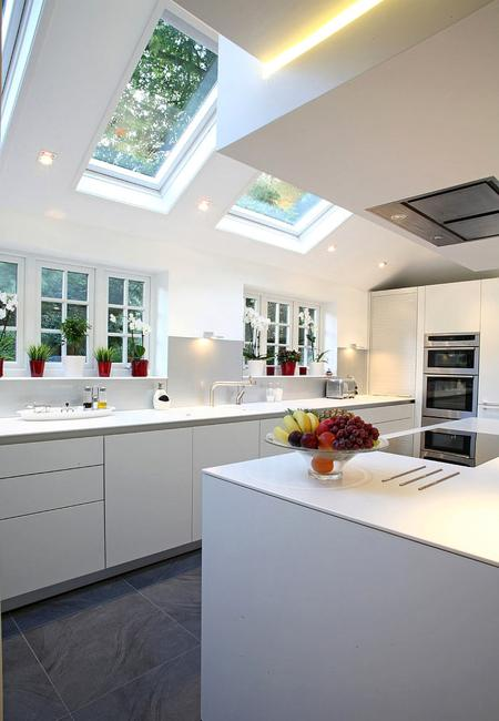 modern kitchens with ceiling windows