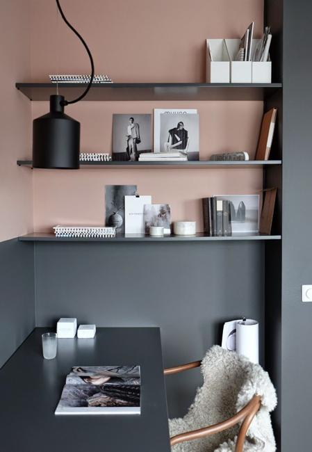 Two Color Wall Painting, Neutral Gray, And Pastel Pink Paint Colors