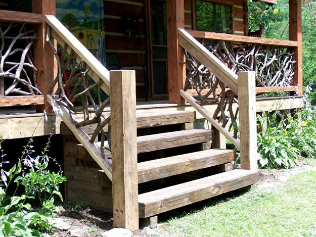 Outdoor Wooden Stairs Giving Unique Warm Look To Modern