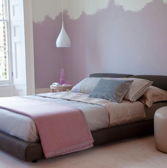 Two color wall painting ideas for beautiful bedroom decorating - Wall painting ideas for bedroom ...