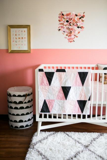 Baby Nursery Decorating With Half Painted Wall In Pink