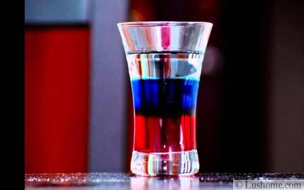 red and blue drink cocktail
