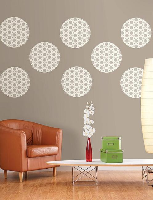 living room wall decoration with polka dots
