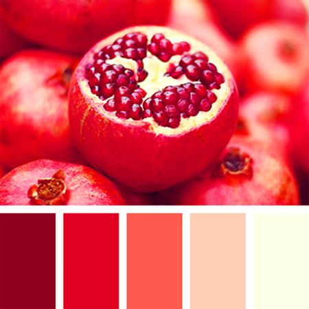 Pomegranate Red Colors And Creamy Shades