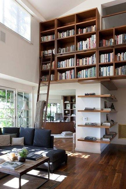 25 modern home library designs with ladders and stairs for Decor ladder house