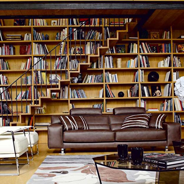 25 Modern Home Library Designs With Ladders And Stairs