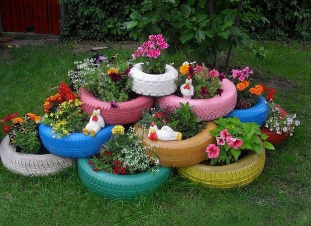 Recycling Old Car Tires For Planters And Original Flower Beds