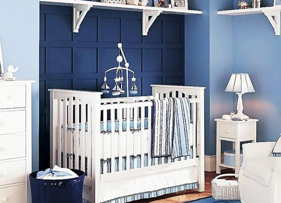 Blue Color, Square Accents, Elegant Stripes, Baby Boys Bedroom Decorating