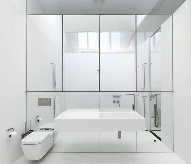 Floor To Ceiling Mirrored Bathroom Wall
