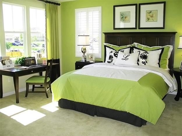 Natural Green Color Schemes For Modern Bedroom And