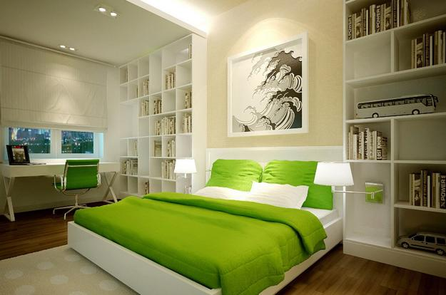 Natural green color schemes for modern bedroom and for Bedroom interior designs green