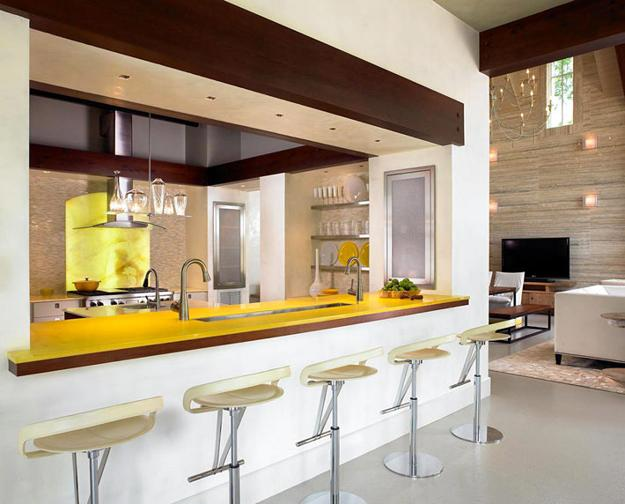 High Seating Area With Bar Stools Contemporary Kitchen Design