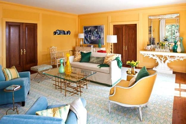 Peach orange and blue color schemes for interior design inspired by nature for Blue and orange color scheme for living room