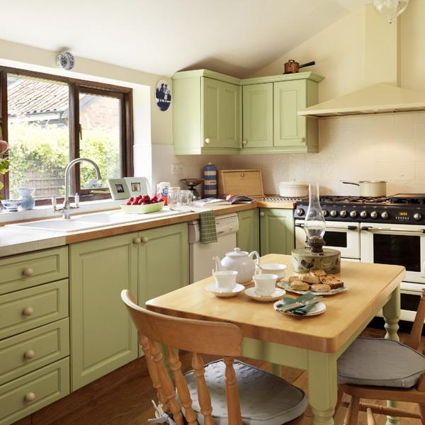 Kitchen Color Schemes: Oat Color Scheme With Green Pastels For Modern Kitchen