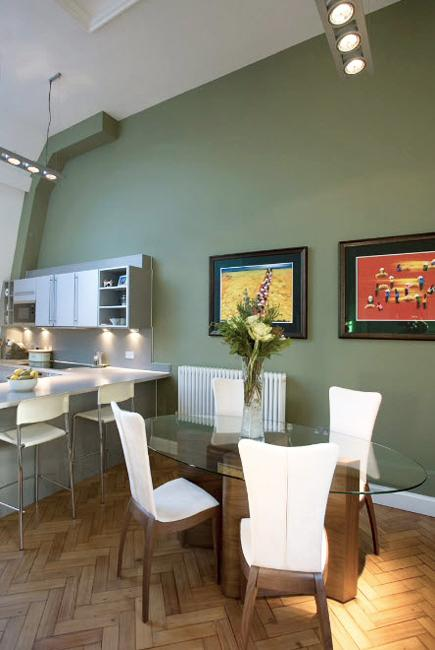 Oat Color Scheme With Green Pastels For Modern Kitchen