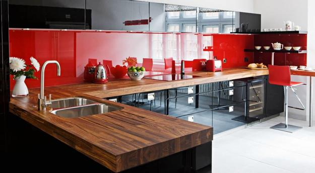 Wooden Kitchen Countertops And High Gloss Cabinets In Red Black