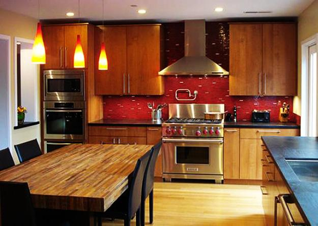 Wooden Kitchen Design With Red Tiled Wall