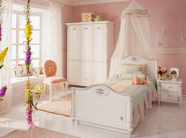Pink Walls White Painted Wood Furniture Kids Bed With A Canopy And Curvy Details In Clic Style