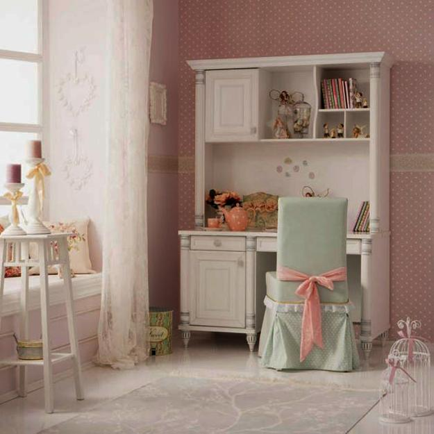 pink paint and white painted furniture in girls bedroom