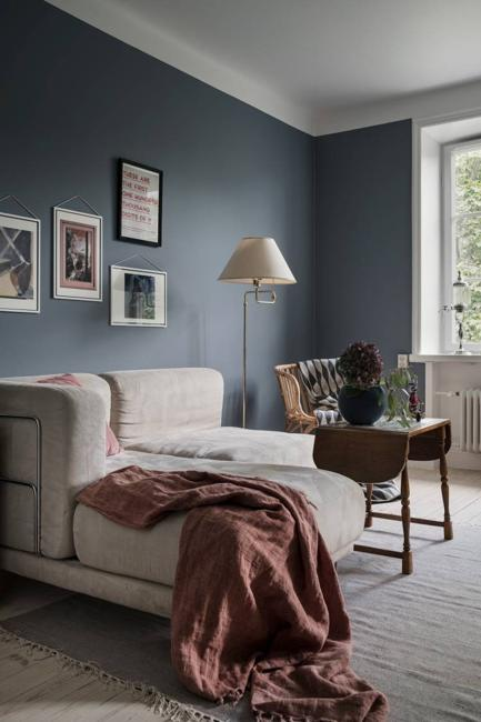 Grayish Blue And Pink Color Scheme For Beautiful Interior Design In Scandinavian Style
