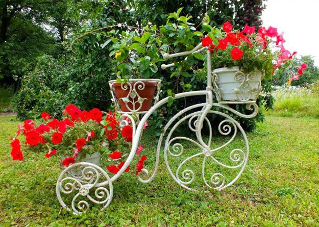 bike flower stands for yard landscaping