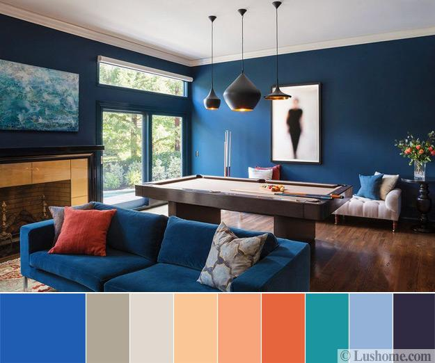 Modern Living Room Color Scheme Dark Blue Green Orange And Light Gray Tones