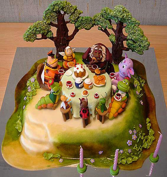 Sweet Cake Decoration With Marzipan Fruits Flowers And Fun Designs