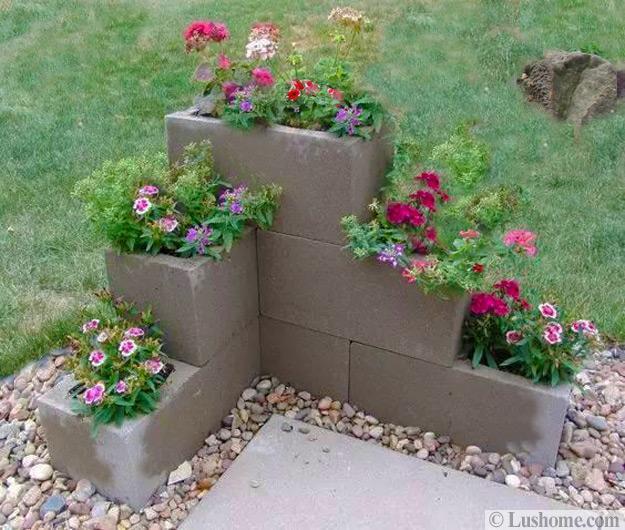 Ideas For Flowers In Backyard: Original Cinder Block Ideas For DIY Yard Decorations