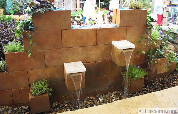 fountain made with cinder blocks