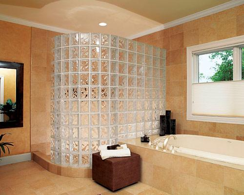 Shower Partition Wall Design With Glass Blocks
