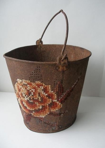 metal bucket with embroidery