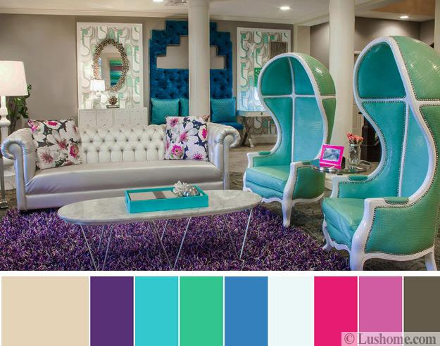 Modern Living Room Color Scheme With Blue, Turquoise, Pink And Purple Colors