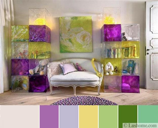 Purple, Yellow And Green Color Scheme For Modern Room Decorating