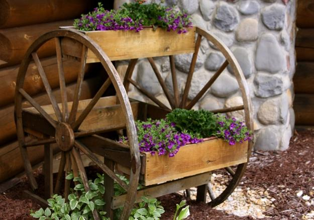decorating with plants and wheels