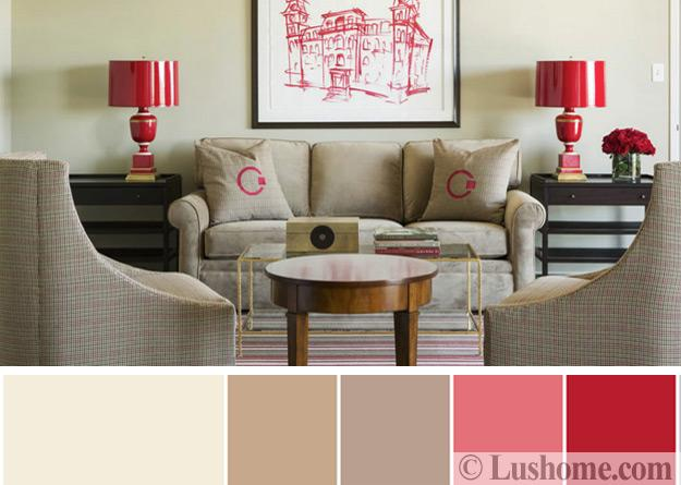Modern Interior Design Color Schemes Beige And Red Colors