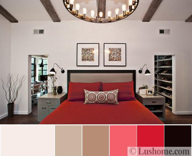 Bedroom Design With Wooden Ceiling Beam, Red Bedding, Beige Bed Headboard